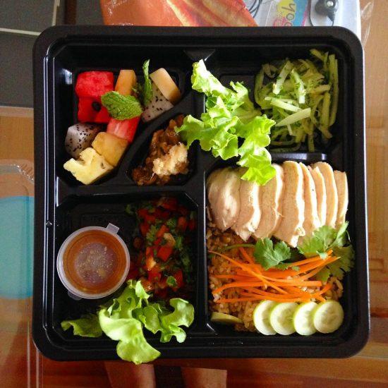 Chicken green bean rice lunch set