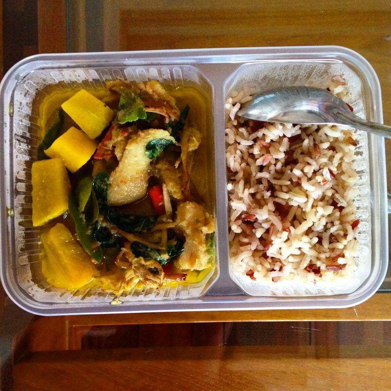 Fish green curry with brown rice