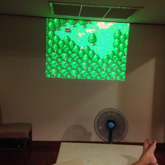 @armyxxl is having fun playing his game on a projector. I'm still waiting for my turn! #worksmartplayhard  #happythursday