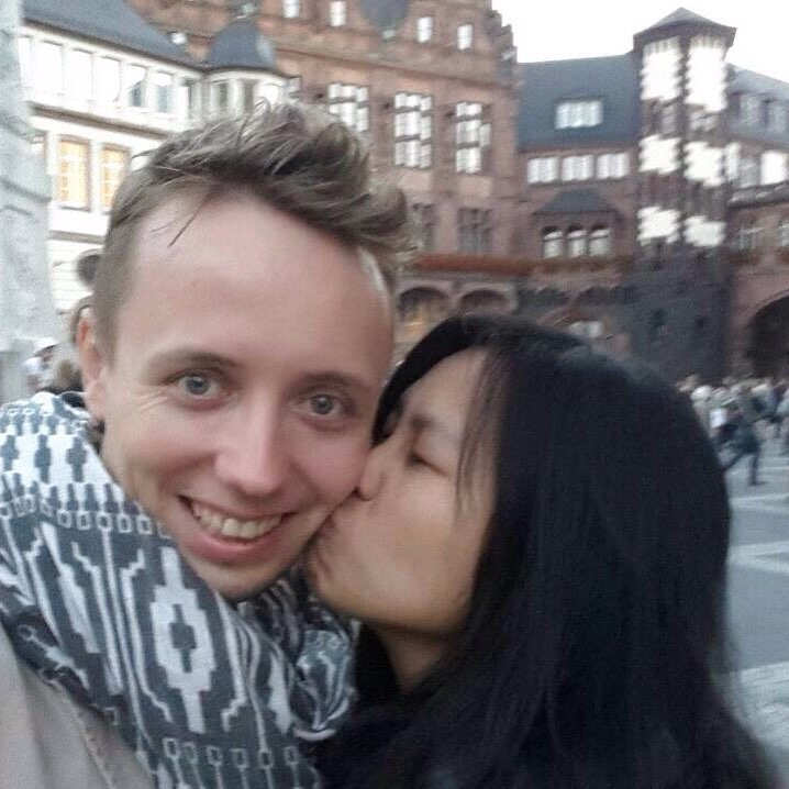 Close my eyes and Küss küss my fiancé  hahaha #serebiiingermany We decided to take one step forward on Friday, August 7, 2015. And today, October 9, 2015, we are super happy and excited about our journey.😍😘👫 Thank you to everyone for supporting us.