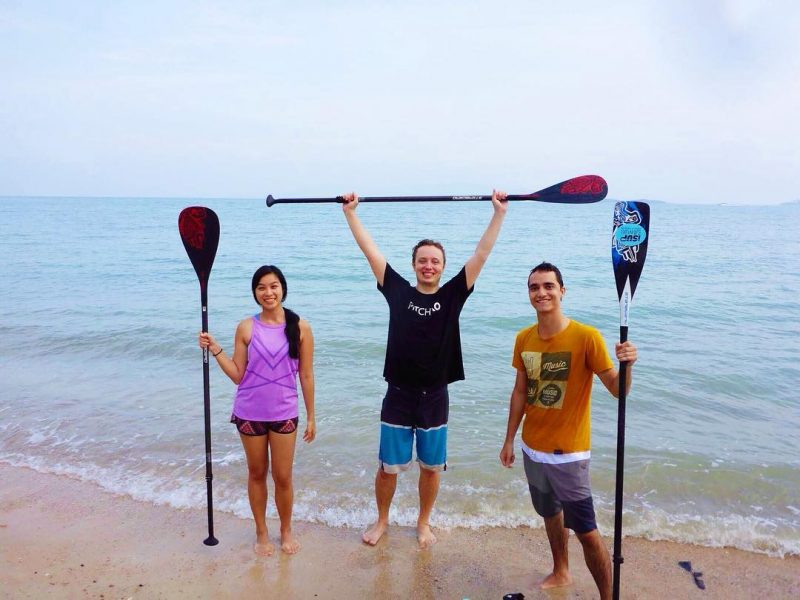 Threw back, the first month we moved to Samui. We got so excited 😆 we woke up at 5 AM and went paddling during sunrise. Me, Markus and Maxim after morning SUP.  #samui