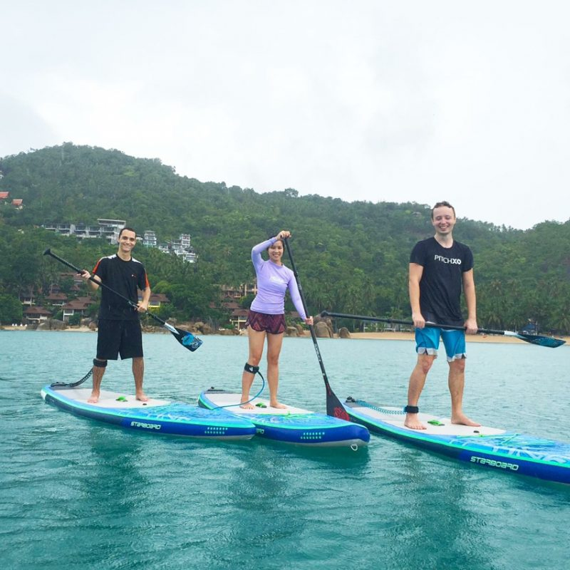 Threw back our second time on SUP last year, 2016 . . . .  #girlonsamui #islandlife  #standuppaddling #sup #standuppaddle #rain #samui #beachlife #fun #rainyday #thailand