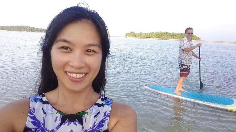 I finished SUP earlier than Markus today. The sun was quite strong. I didn't feel so well later. Next time I will make sure I bring my hat and sport sunglasses so I won't have a headache like today again. #girlonsamui #islandlife  #standuppaddling #sup #standuppaddle #samui #beachlife #fun #thailand