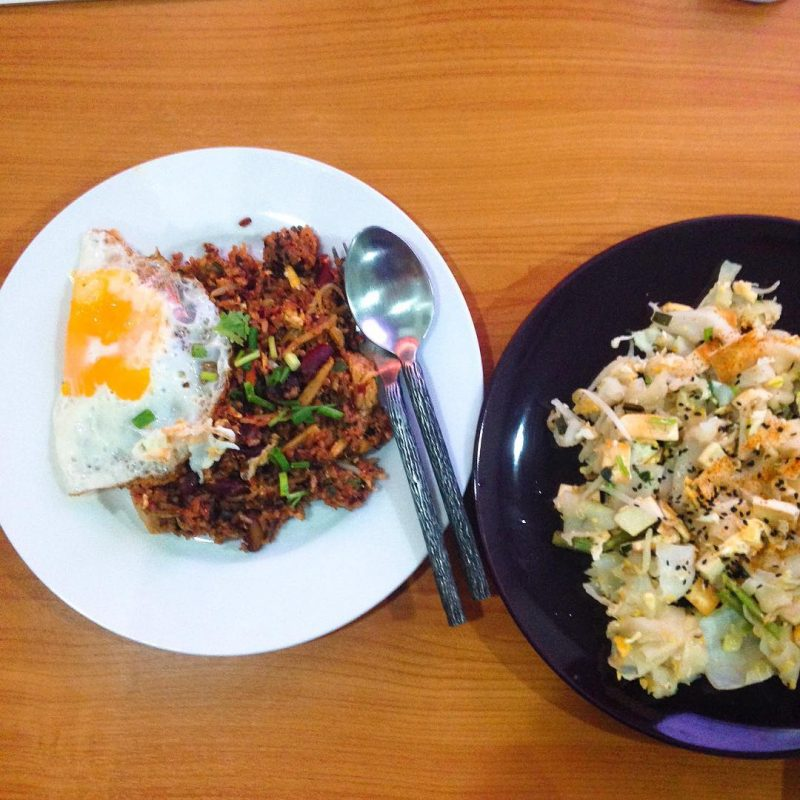 Home-cooked kimchi fried brown rice with boiled red beans and fried rice noodles with veggies and tofu