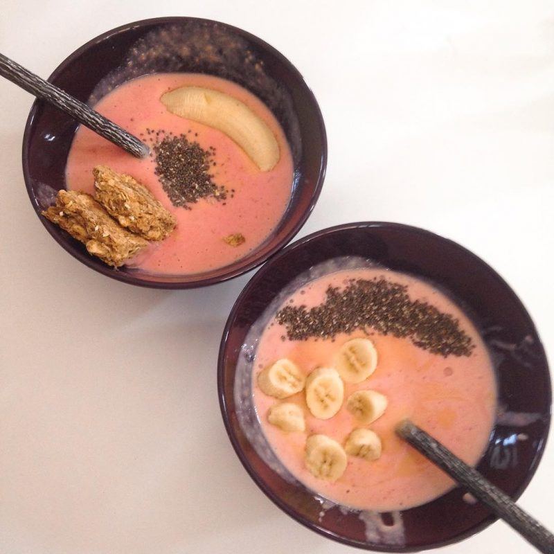 Homemade smoothie bowl breakfast