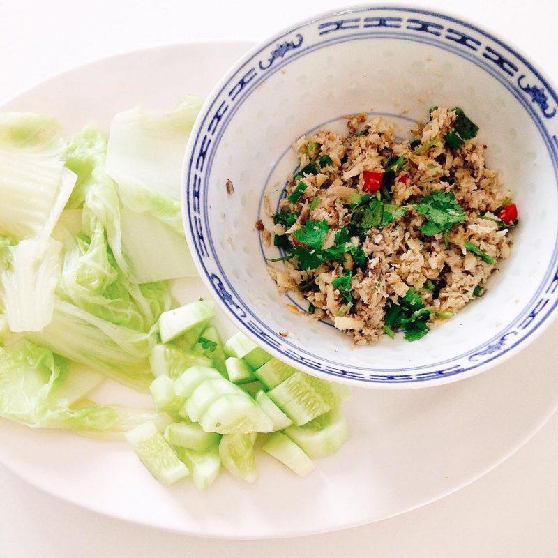 Grilled spicy mushroom paste/salad