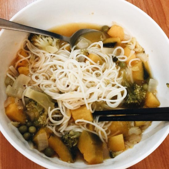 Pumpkin & broccoli stew with Korean noodles