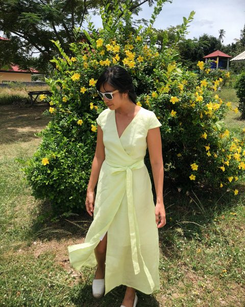 New arrival Isabella linen dress in lemon lime color is available at my shop @officialtaiwaree 🍋