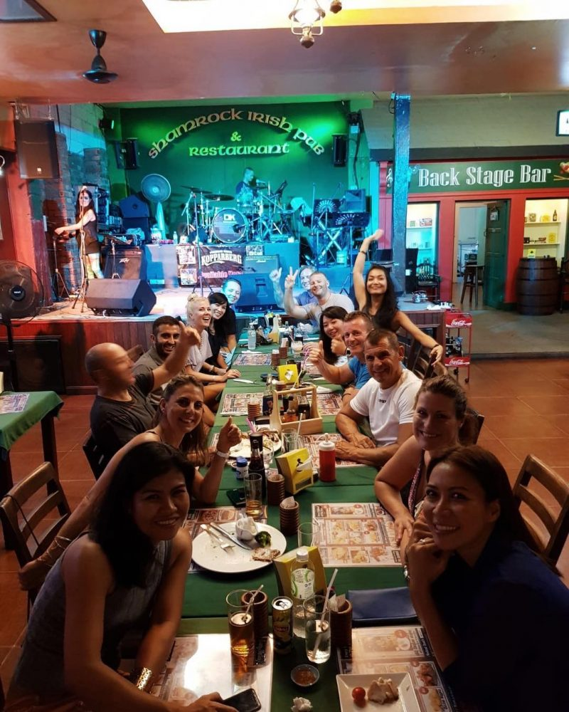 #throwback  the picture when we had dinner with crossfit friends last Wednesday. Can you find where we sat? Lol  tiny dots 😜😆