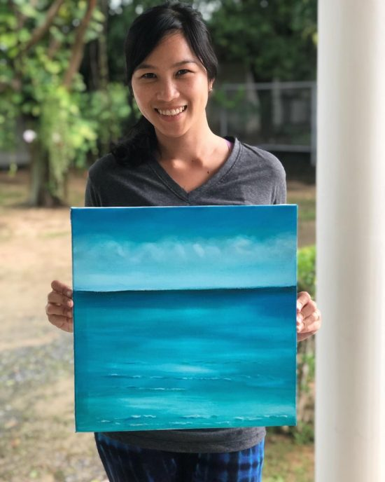 """I just finished my first acrylic painting 🖼. """"Crystal beach"""" Thank you to my friend, Sharon for teaching me how to paint. 🎨"""