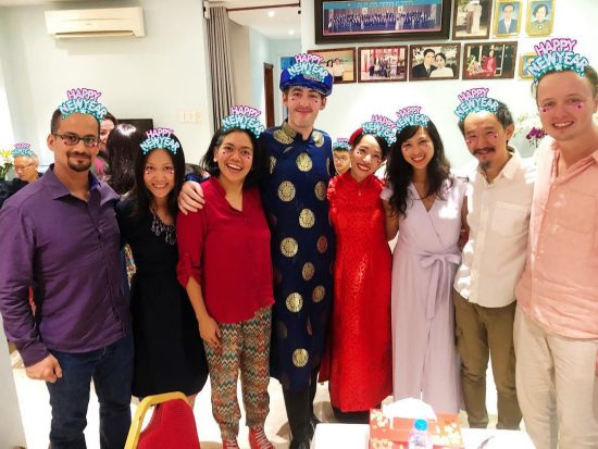 Happy New Year 🎆🎊🎈 2019  Congrats to Hong and Alan 👰🏻 🤵🏻💍 . It's very nice spending New Year's Eve with our Bangkok expat friends in Vietnam. We used to hang out with them a lot in Bangkok. Later we all left Bangkok and continued our lives in other cities. today we are going to the beach with them. Woohoo 🙌