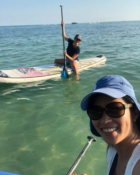After crossfit, we went paddling around Yousabuy cafe . @mariangelacolarusso did good job on her first time of SUP. It was a fun day. 🏝🏖🌊