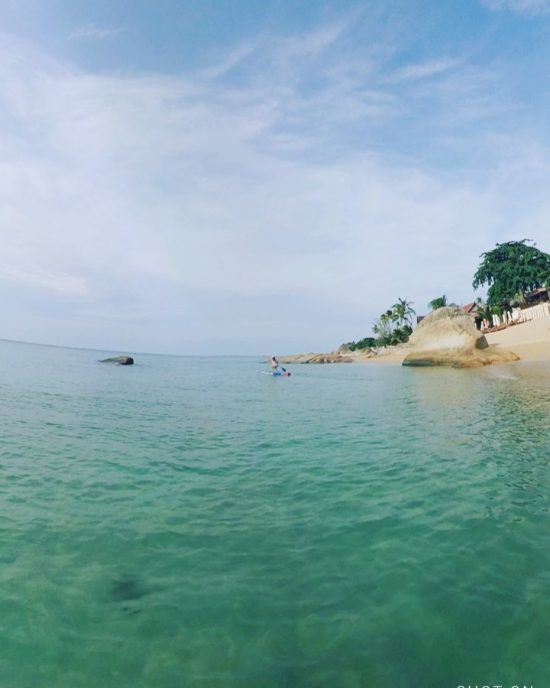 Perfect water condition for trying Markus' race board (2019 all star from starboard). It felt different from my yoga board. 😆😆😆 it was challenging especially when I turned. 😅 I almost fell into the water. 🏝 . . . . . .  #perfectday #beachlife #islandlife #happyislanders #lifeisgreat #kohsamui #thailand #SUP  #standuppaddleboarding #paddleboard