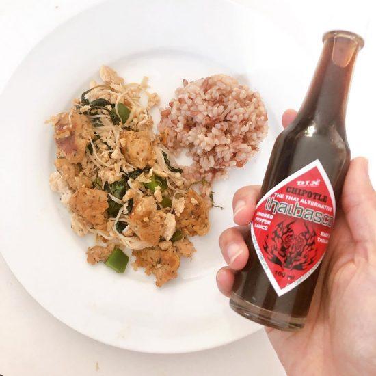 Yummy stir-fried organic Thai basils mixed with ground chicken, chicken meat balls, mushrooms, green paprika and chipotle sauce. Chicken meat balls & chipotle from @merchantgourmetfood , Koh Samui  Organic Thai basils from the garden on Koh Samui